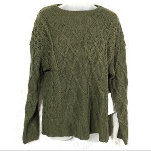 Angel Kiss large army drab olive green sweater NEW